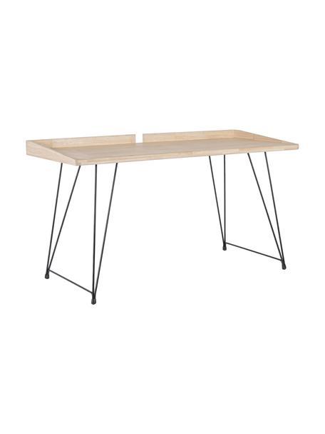 Biurko w stylu industrialnym District, Blat: drewno kauczukowe, Nogi: stal lakierowana, Brązowy, S 142 x G 61 cm
