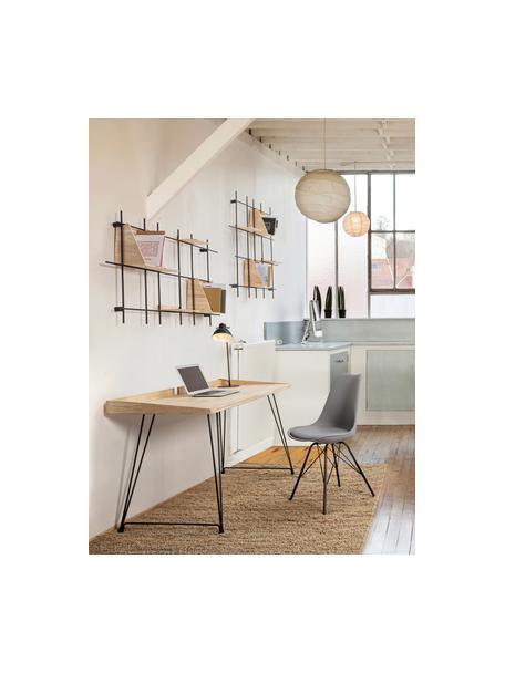 Schreibtisch District im Industrial-Style, Tischplatte: Gummibaumholz, Beine: Stahl, lackiert, Braun, B 142 x T 61 cm