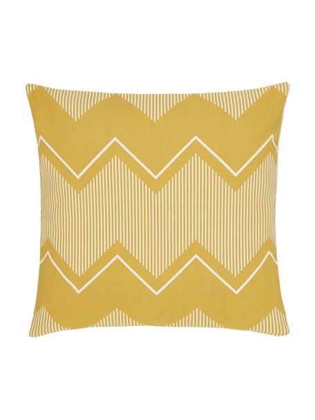 Poszewka na poduszkę w stylu boho Indy, 100% bawełna, Biały, żółty, S 45 x D 45 cm