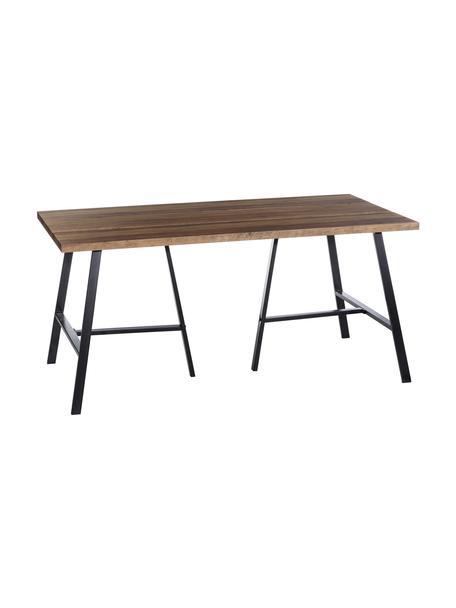Mesa de comedor Dinni, en estilo industrial, Tablero: tablero de fibras de dens, Patas: metal recubierto, Marrón, negro, An 160 x F 90 cm