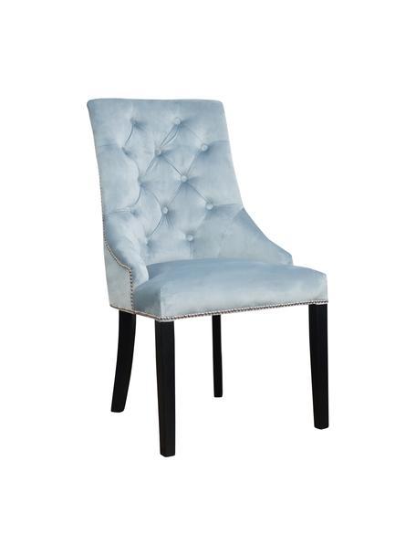 Sedia imbottita in velluto blu Madam, Rivestimento: velluto (100% poliestere), Velluto azzurro, gambe nero, Larg. 56 x Prof. 64 cm