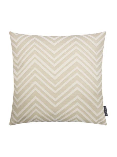 Outdoor kussenhoes Lobos met zigzag patroon, 100% polyacryl, Zandkleurig, beige, 50 x 50 cm
