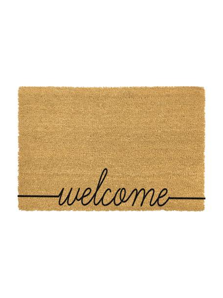Fussmatte Welcome, Kokosfaser, Fussmatte: Beige, Schriftzug: Schwarz, 40 x 60 cm