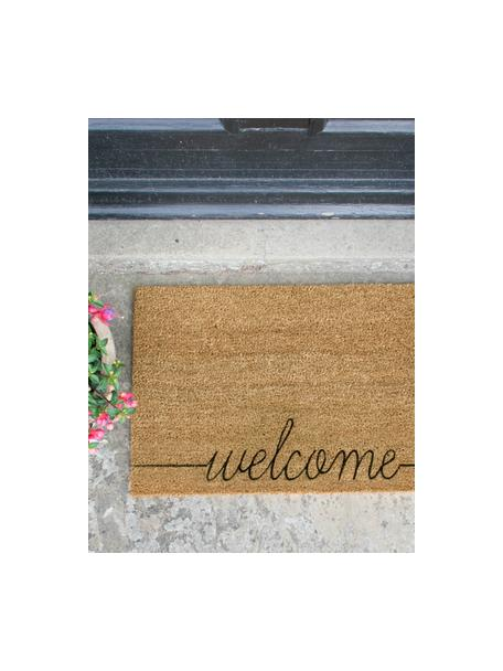 Deurmat Welcome, Kokosvezels, Deurmat: beige. Opschrift: zwart, 40 x 60 cm