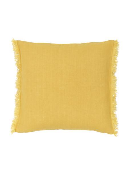 Poszewka na poduszkę z lnu z frędzlami Luana, 100% len, Żółty, S 50 x D 50 cm