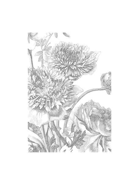 Papel pintado Engraved Flowers, Tejido no tejido, ecológica y biodegradable, Gris, blanco, An 195 x Al 280 cm