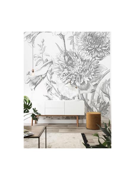 Fototapete Engraved Flowers, Vlies, umweltfreundlich und biologisch abbaubar, Grau, Weiß, 195 x 280 cm