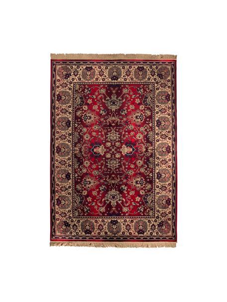 Tappeto orientale con motivo floreale Bid, Retro: rivestimento in gomma sin, Tappeto: tonalità beige e rosse Frange: beige, Larg. 170 x Lung. 240 cm (taglia M)