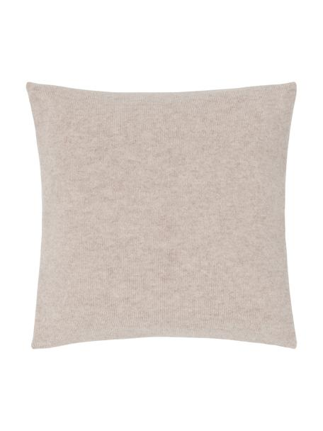 Federa arredo in maglia fine di cashmere Viviana, 70% cashmere, 30% lana merino, Beige, Larg. 40 x Lung. 40 cm