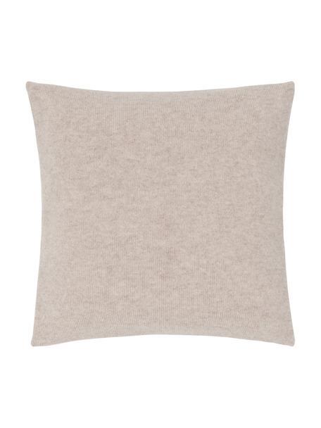 Fijn gebreide kasjmieren kussenhoes Viviana, 70% kasjmier, 30% merinowol, Beige, 40 x 40 cm