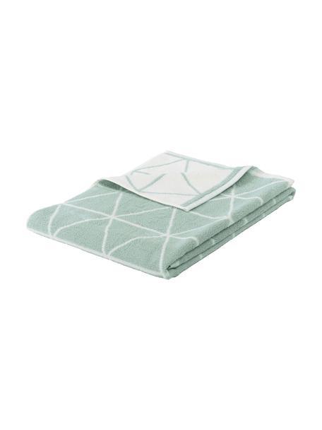 Dubbelzijdige handdoek Elina met grafisch patroon, 100% katoen, middelzware kwaliteit, 550 g/m², Mintgroen, crèmewit, Gastendoekje