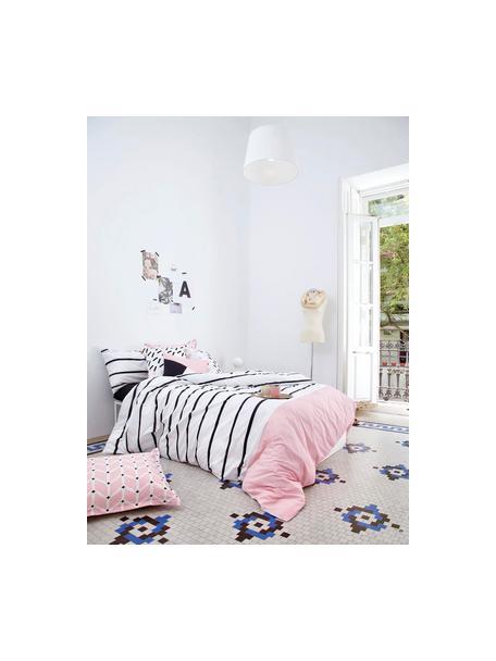 Gestreifte Baumwoll-Bettwäsche Blush mit rosa Kontrast, Webart: Renforcé Fadendichte 150 , Weiss, Rosa, Schwarz, 140 x 200 cm + 1 Kissen 80 x 80 cm