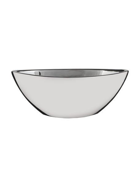 Ovale Pflanzschale Kyra, Keramik, Silberfarben, 25 x 10 cm