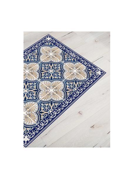Vlakke vinyl vloermat Luis in blauw / beige, antislip, Recyclebaar vinyl, Blauw, beige, 65 x 85 cm