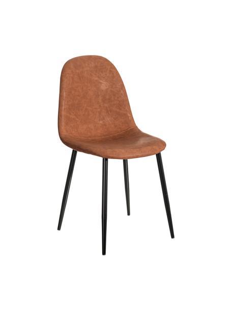 Krzesło tapicerowane ze sztucznej skóry Gina, Tapicerka: sztuczna skóra (poliureta, Nogi: metal, Karmelowy brązowy, czarny, S 44 x G 44 cm