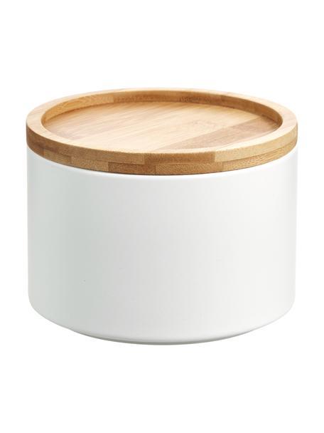 Contenitore impilabile in metallo e bambù Bambel, Contenitore: metallo verniciato, Coperchio: bambù, Bianco, Ø 13 x Alt. 10 cm