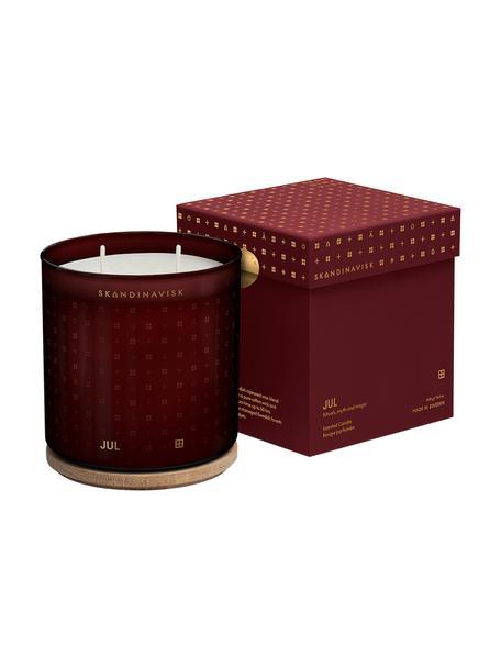 2-lonts geurkaars Jul (kaneel, kruidnagel, gember), Houder: glas, Deksel: berkenhout, Doos: karton, Rood, Ø 10 x H 11 cm