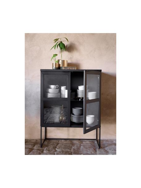 Chiffonnier de vidrio Everett, Cuerpo: madera de roble maciza pi, Estructura: metal pintado, Negro, An 95 x Al 125 cm
