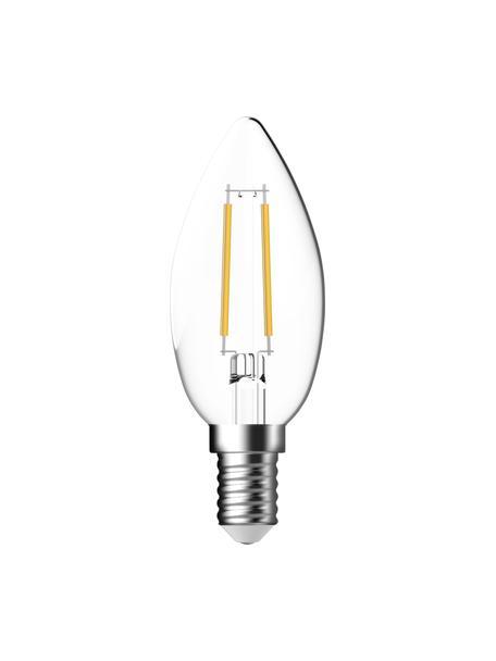 E14 peertje, 250lm, warmwit, 2 stuks, Peertje: glas, Fitting: aluminium, Transparant, Ø 4 x H 10 cm