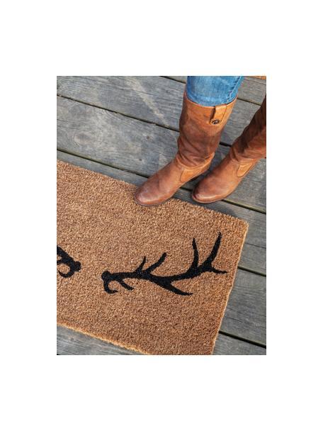 Handgeweven deurmat Antlers, Kokosvezels, Beige, zwart, 45 x 75 cm