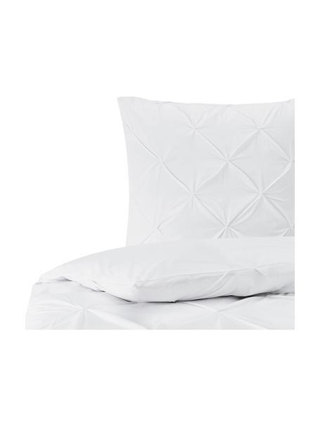 Baumwollperkal-Bettwäsche Brody mit Biesen-Verzierung, Webart: Perkal Fadendichte 200 TC, Weiß, 135 x 200 cm + 1 Kissen 80 x 80 cm