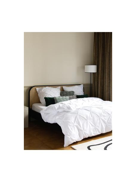 Pościel z perkalu ze strukturalnym zdobieniem Brody, Biały, 135 x 200 cm + 1 poduszka 80 x 80 cm