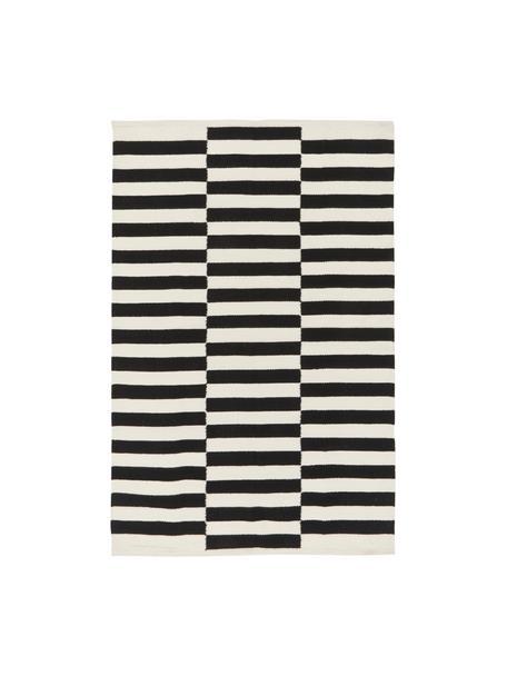 Handgeweven Kelim vloerkleed Donna met strepen, Bovenzijde: 80% wol, 20% nylon, Onderzijde: 100% katoen Bij wollen vl, Zwart, B 120 x L 180 cm (maat S)
