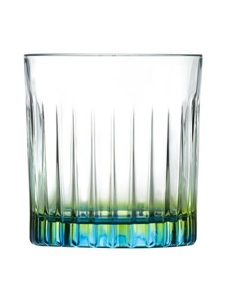 Glazen kristallen tumblers Gipsy met tweekleurig Luxion, 6 stuks, Luxion-kristalglas, Transparant, groengeel, turquoise, Ø 8 x H 9 cm