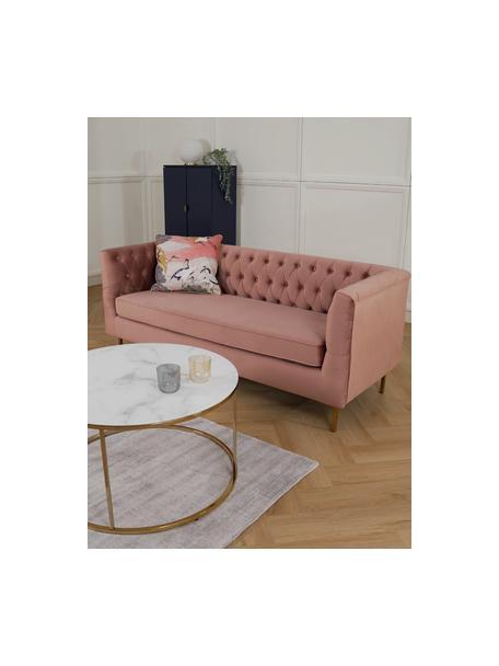 Fluwelen Chesterfield bank Chiara (2-zits) in roze, Bekleding: fluweel (polyester), Frame: massief berkenhout, Poten: gegalvaniseerd metaal, Fluweel roze, B 170 x D 72 cm