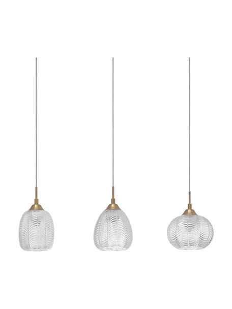Grote hanglamp Vario van gesatineerd glas, Lampenkap: gesatineerd glas, Baldakijn: gecoat aluminium, Goudkleurig, transparant, Ø 76 x H 120 cm