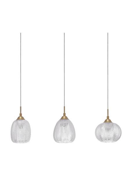 Lámpara de techo grande de vidrio satinado Vario, Fijación: aluminio recubierto, Pantalla: vidrio satinado, Cable: plástico, Anclaje: aluminio recubierto, Dorado, transparente, Ø 76 x Al 120 cm