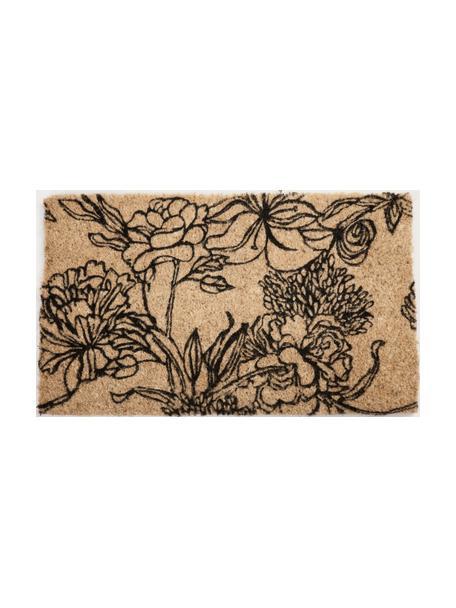 Fußmatte Ink Bouquet aus Kokusfaser mit Blumendruck, Kokosfaser, Schwarz, 45 x 75 cm