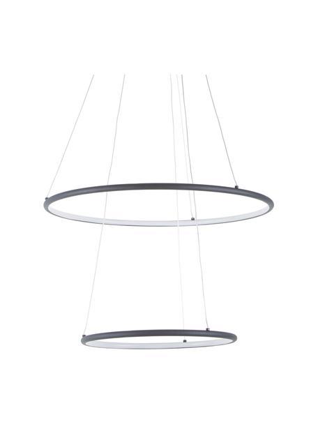 Grote LED hanglamp Orion, Lampenkap: gecoat metaal, Baldakijn: gecoat metaal, Diffuser: acryl, Zwart, Ø 60 x H 50 cm