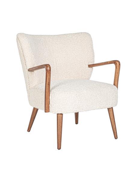 Teddy-Loungesessel Moritz mit Armlehnen, Sitzfläche: Polyester, Cremefarben, B 67 x T 74 cm