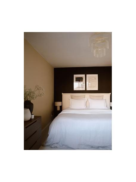 Premium boxspring bed Violet in beige, Matras: 5-zones pocketvering, Poten: massief gelakt berkenhout, Geweven stof beige, 140 x 200 cm