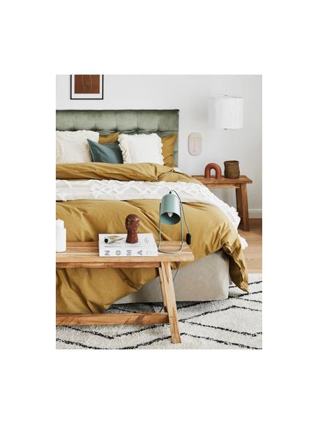 Lámpara de mesa pequeña Enchant, estilo retro, Pantalla: metal recubierto, Cable: cubierto en tela, Verde, Ø 18 x Al 30 cm