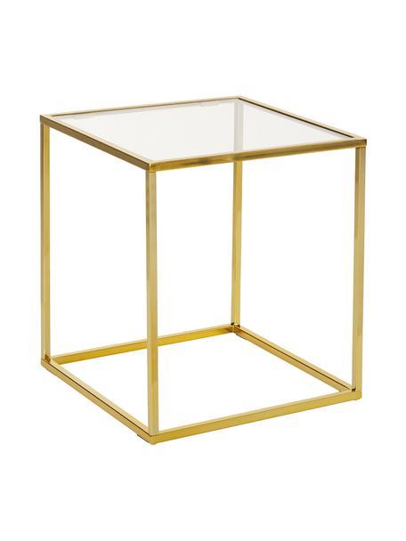 Mesa auxiliar Maya, tablero de cristal, Tablero: vidrio laminado, Estructura: metal galvanizado, Vidrio transparente, dorado brillante, An 45 x Al 50 cm