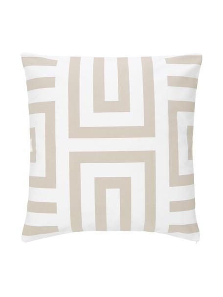 Kussenhoes Bram in beige/wit met grafisch patroon, 100% katoen, Wit, beige, 45 x 45 cm