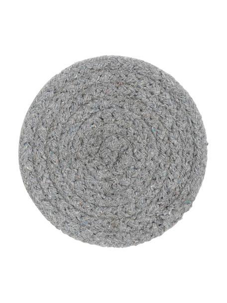 Runde Untersetzer Vera aus Baumwolle, 4 Stück, 100% Baumwolle, Grau, Ø 10 cm