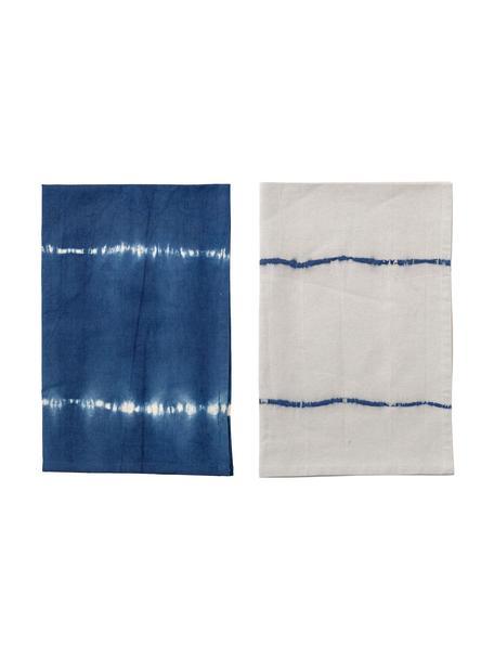 Katoenen theedoeken Alston in batik-look, 2-delig, Katoen, Blauw, 45 x 70 cm