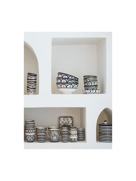 Handgemachtes marokkanisches Schälchen Moyen mit goldenen Details, Ø 15 cm, Keramik, Schwarz, Cremefarben, Gold, Ø 15 x H 9 cm