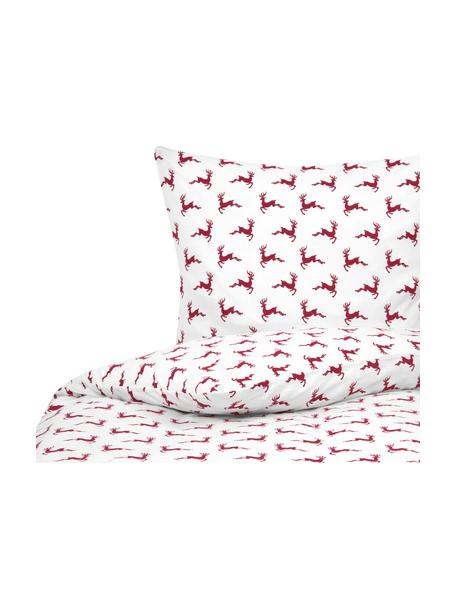Pościel z flaneli Rudolph, Czerwony, ecru, 135 x 200 cm + 1 poduszka 80 x 80 cm