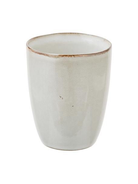 Ręcznie wykonany kubek z kamionki Thalia, 2 szt., Kamionka, Beżowy, Ø 9 x W 11 cm