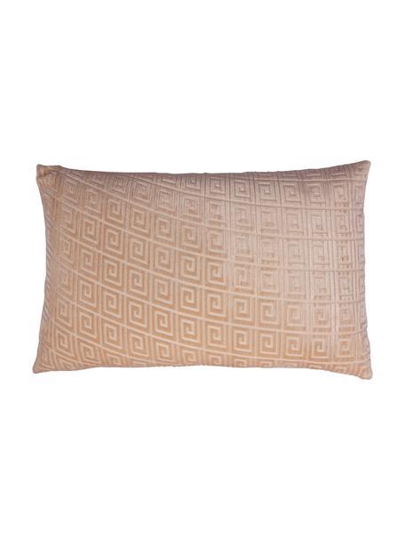 Dubbelzijdige fluwelen kussenhoes Romario in licht-/donkerbeige, Fluweel (100% polyester), Zandkleurig, 40 x 60 cm