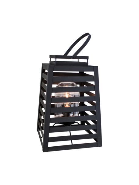 Vloerlamp Yankton met stekker, Lamp: gepoedercoat metaal, Diffuser: glas, Zwart, 30 x 60 cm