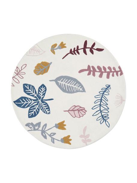 Dywan z wełny Pressed Leaves, Wełna, Kremowy, blady różowy, niebieski, szary, żółty, Ø 110 cm