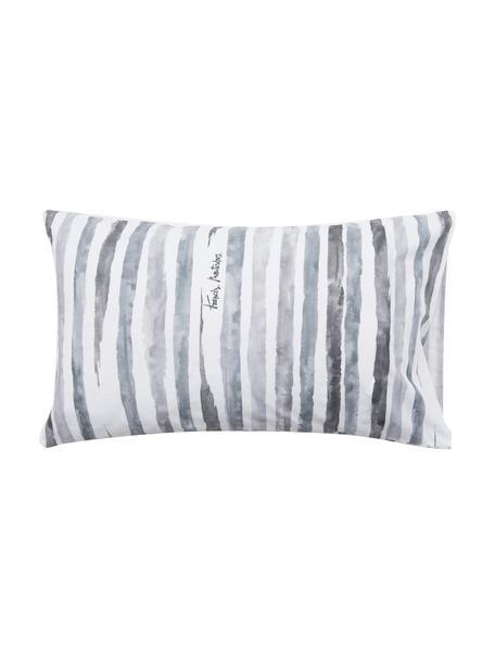 Fundas de almohada Capri, 2uds., 50x80cm, 100%algodón El algodón da una sensación agradable y suave en la piel, absorbe bien la humedad y es adecuado para personas alérgicas, Blanco, tonos de gris, An 50 x L 80 cm