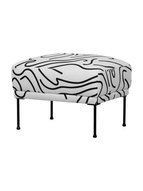 Gemusterter Sofa-Hocker Fluente mit Metall-Füßen, Bezug: 100% Polyester Der hochwe, Gestell: Massives Kiefernholz, Füße: Metall, pulverbeschichtet, Webstoff Weiß, 62 x 46 cm