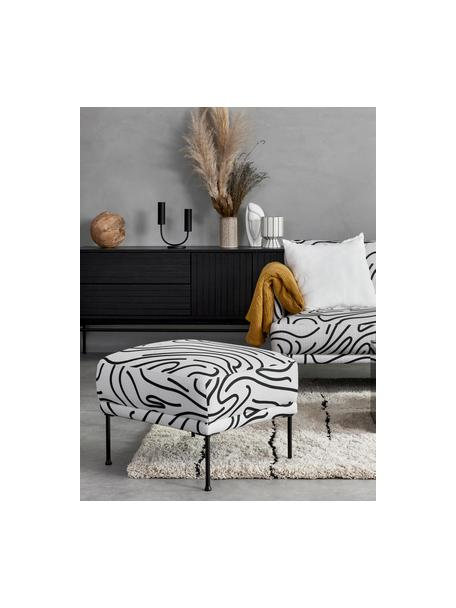 Poggiapiedi da divano in tessuto bianco a fantasia Fluente, Rivestimento: 100% poliestere Con 40.00, Struttura: legno di pino massiccio, Piedini: metallo verniciato a polv, Tessuto bianco, Larg. 62 x Alt. 46 cm