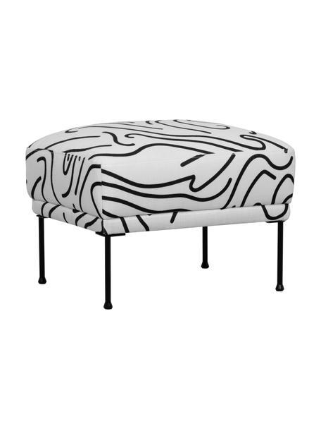Voetenbank met patroon Fluente met metalen poten, Bekleding: 100% polyester, Frame: massief grenenhout, Poten: gepoedercoat metaal, Geweven stof wit/zwart, 62 x 46 cm